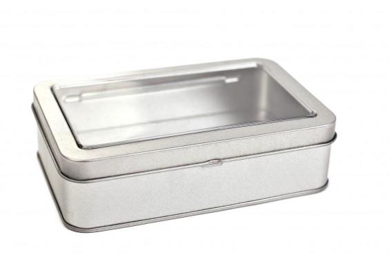 Boîte métal rectangulaire avec vitre
