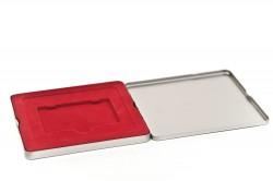 Boîte métal carée cartons rouge