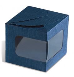 Boîte carton bleu avec fenêtre