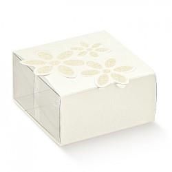Emballage PET et carton blanc avec fleur imprimée.